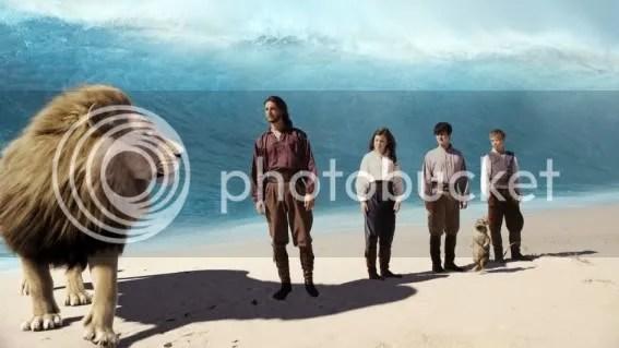 Aslan, Caspian, Lucy, Edmund, Reepicheep, Eustace