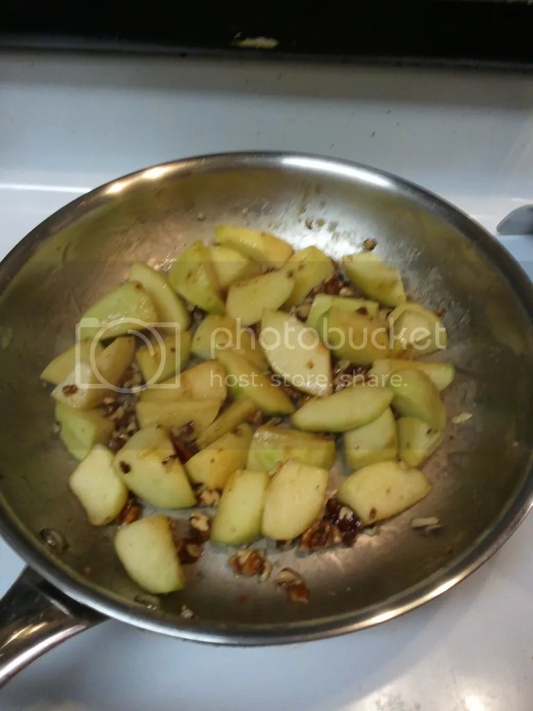 Caramelizing Apples and Pecans in Brown Sugar