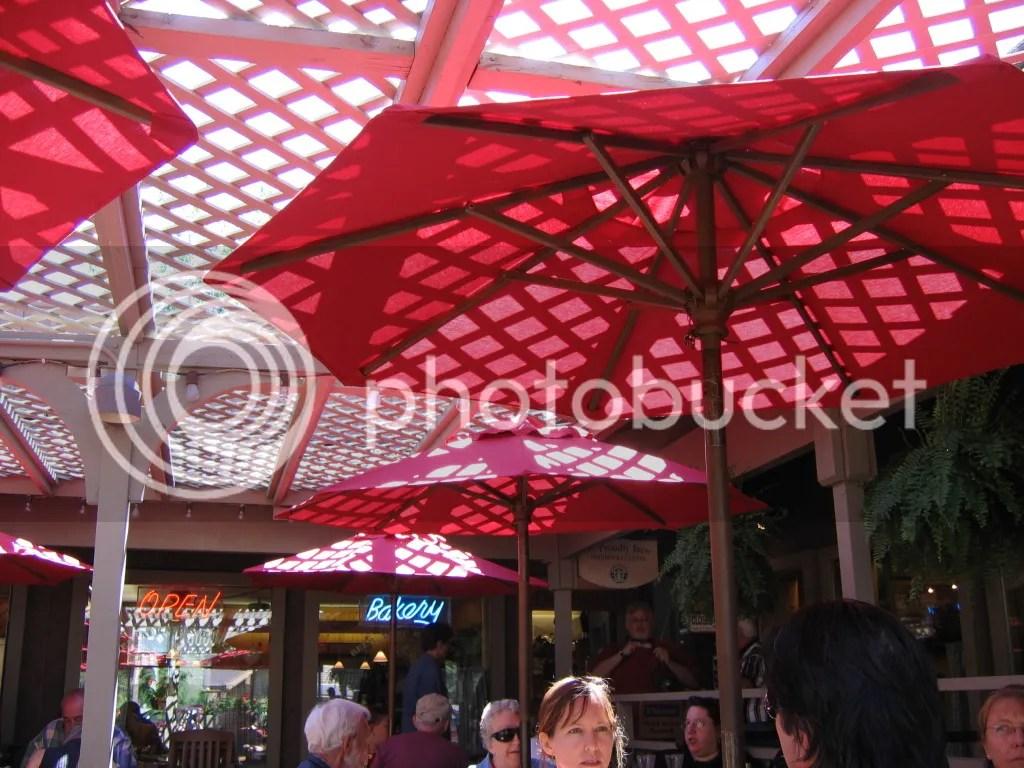 Shadowed Red Umbrellas