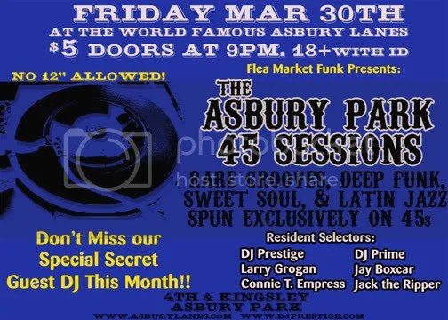 March 30th 45 Sessions Flyer! Be There!