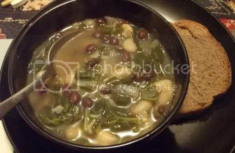 collard & rice soup meal
