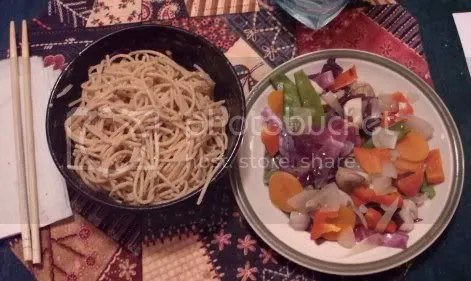 peanut noodles and veggies