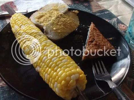 smokey tempeh dinner with corn