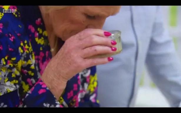Mary Berry inhaling the liquor