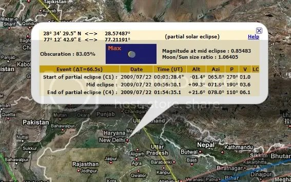 duration of the eclipse for New Delhi