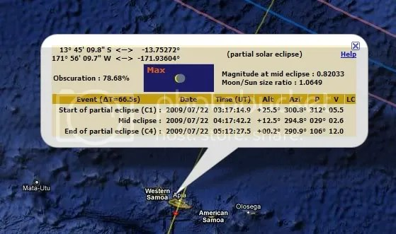 Obscuration of July eclipse in Samoa