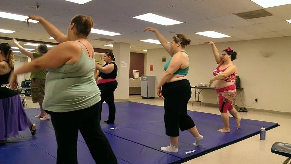 group of women bellydancing