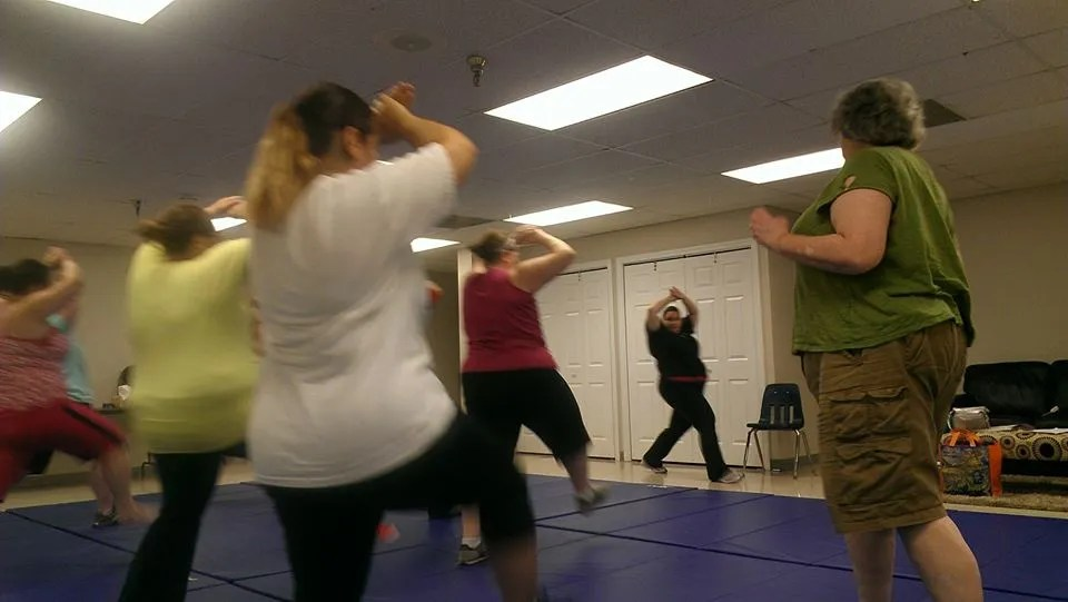 group of women doing self-defense
