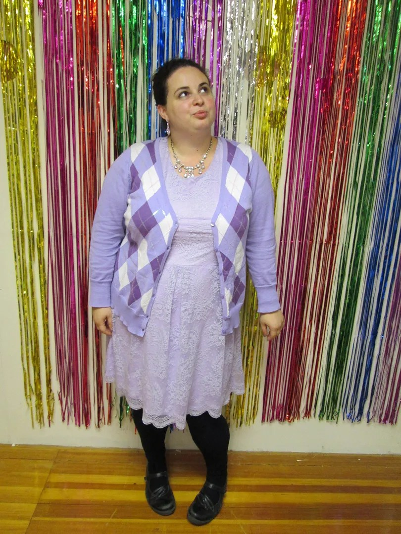 plus size outfit lavender lace dress and purple argyle cardigan
