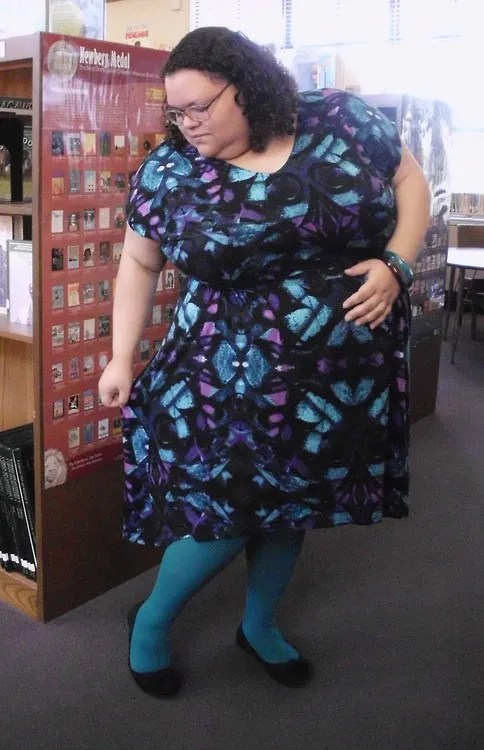 plus size outfit blue and purple stained glass print dress with turquoise tights