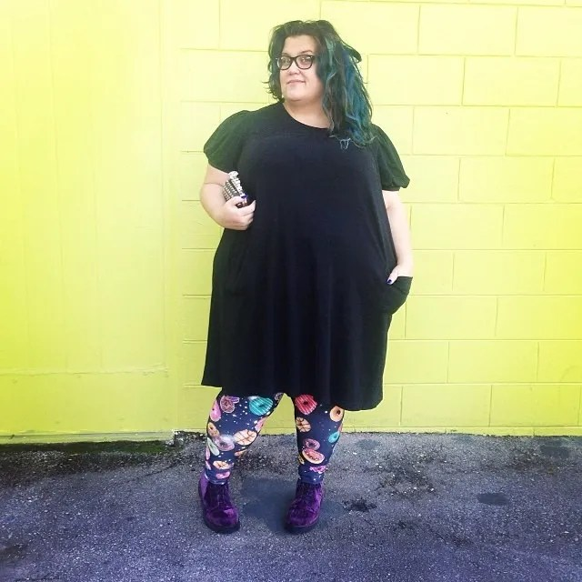 plus size outfit black dress, donut print leggings, purple velvet dr marten boots