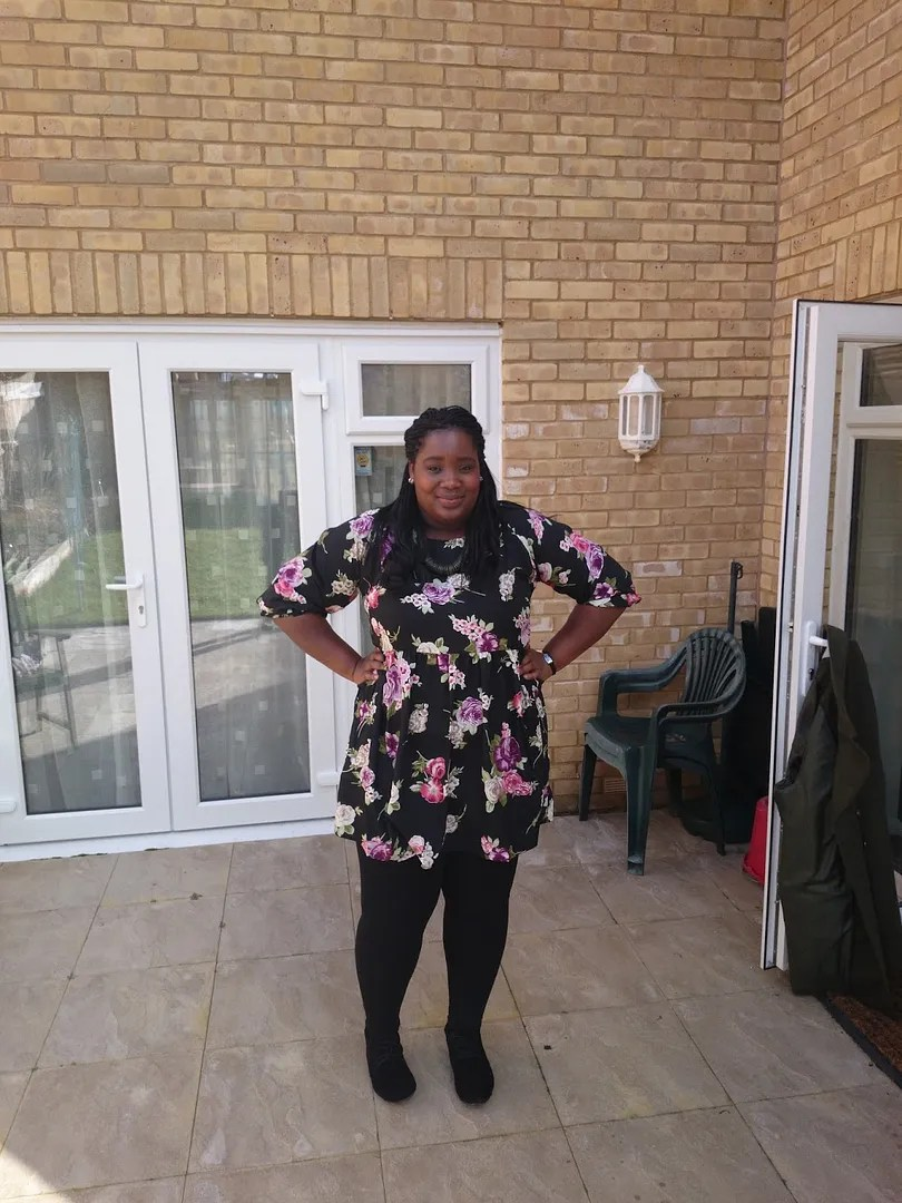 plus size outfit with cute floral dress and black tights