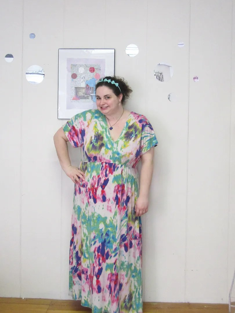 plus size outfit rainbow maxi dress with mint green bow headband and mood heart necklace