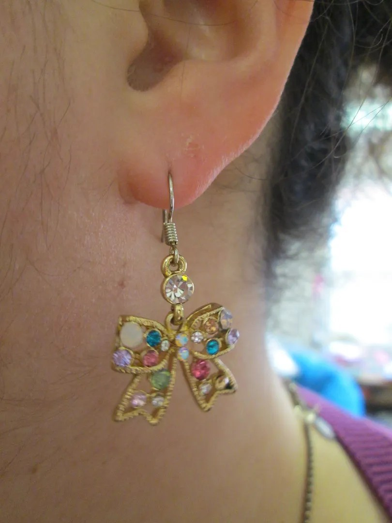 betsey johnson multicolor pastel spring rhinestone bow earring