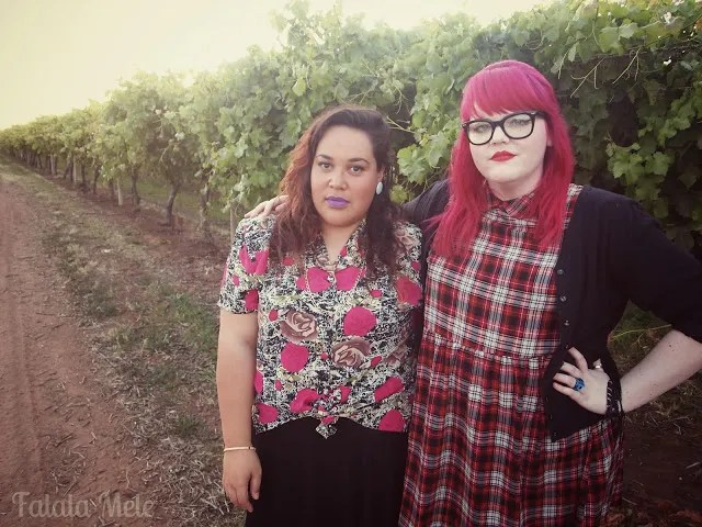 two plus size grunge 90s outfits with purple and red lipstick