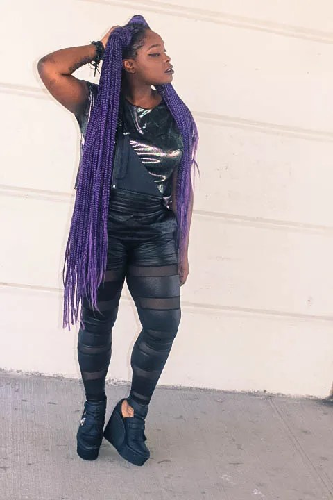 plus size goth outfit black shiny clothes and long purple braids