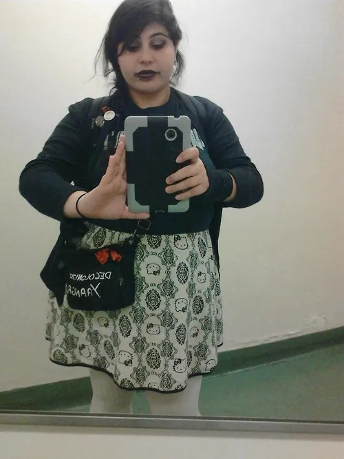 plus size outfit with black and white hello kitty damask print skirt