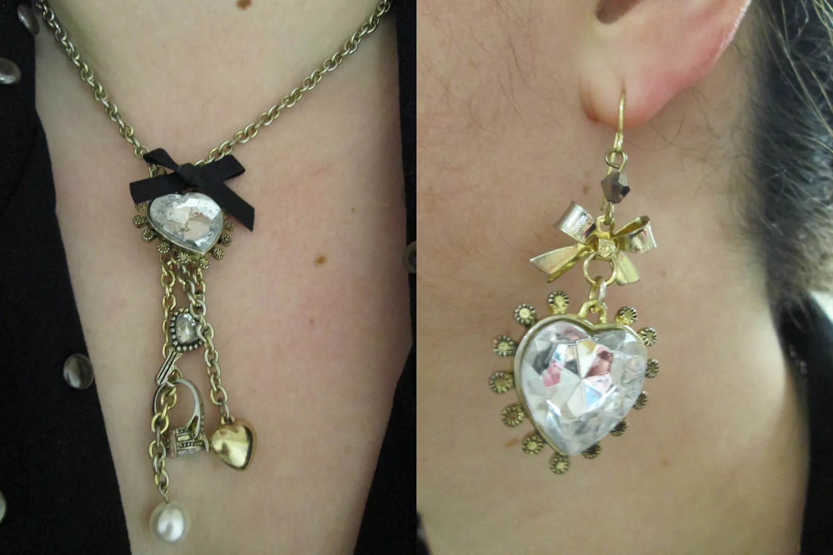 betsey johnson-like heart charm necklace and earrings