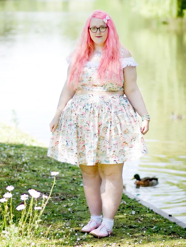 cupcakes clothes plus size outfit with pink hair and cat print crop top and skirt