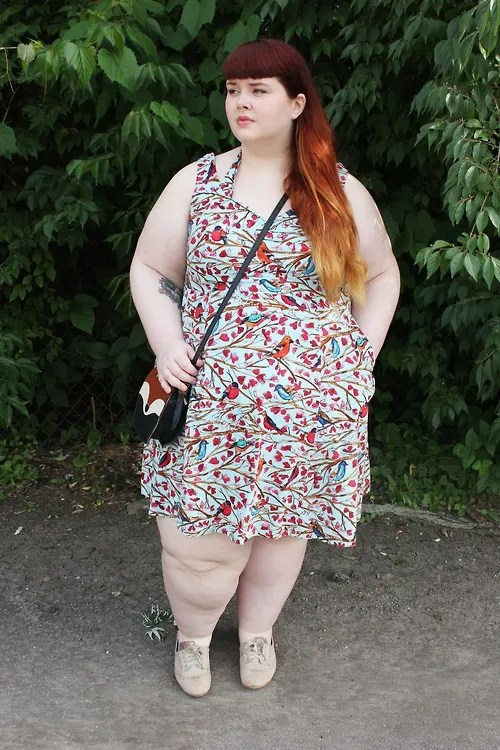 plus size outfit with fox purse, bird and flower print dress