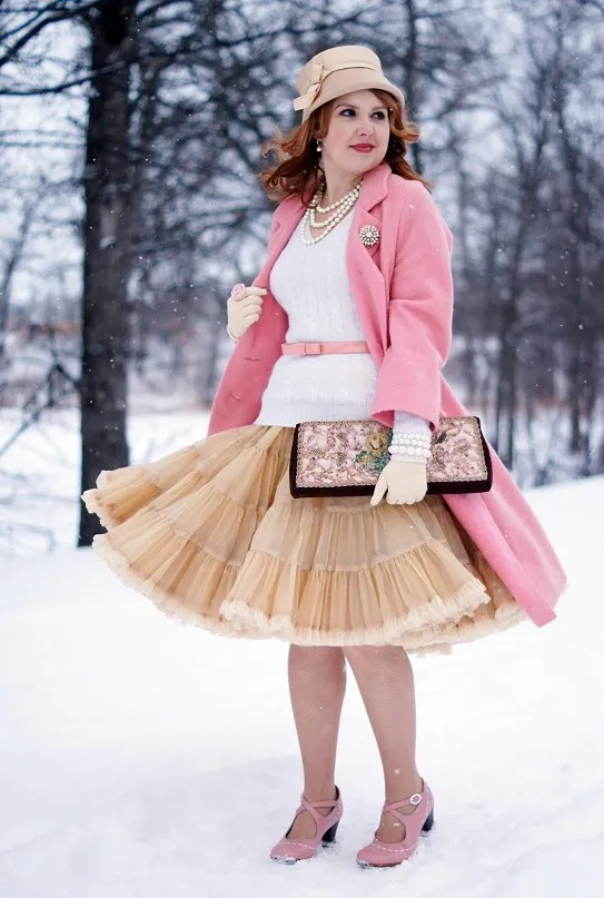 Winnipeg style outfit pink vintage with light pink coat and beige petticoat