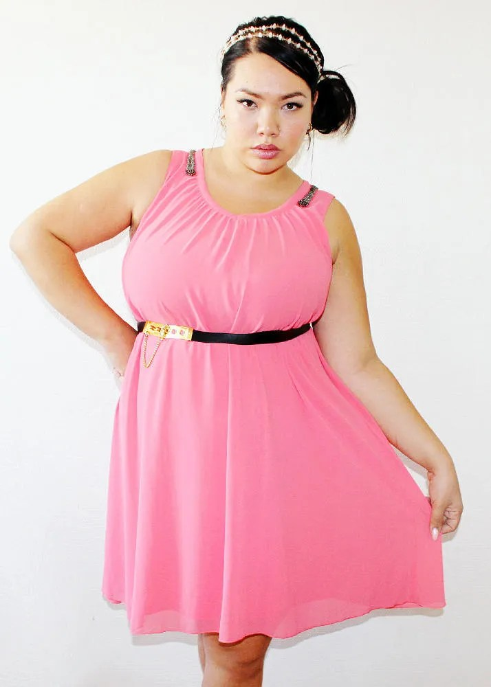 bubblegum pink skater dress with black and gold belt plus size outfit