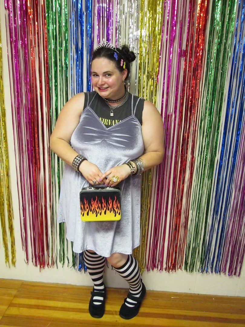 90s plus size outfit nirvana shirt, silver velvet dress, mary janes, knee socks