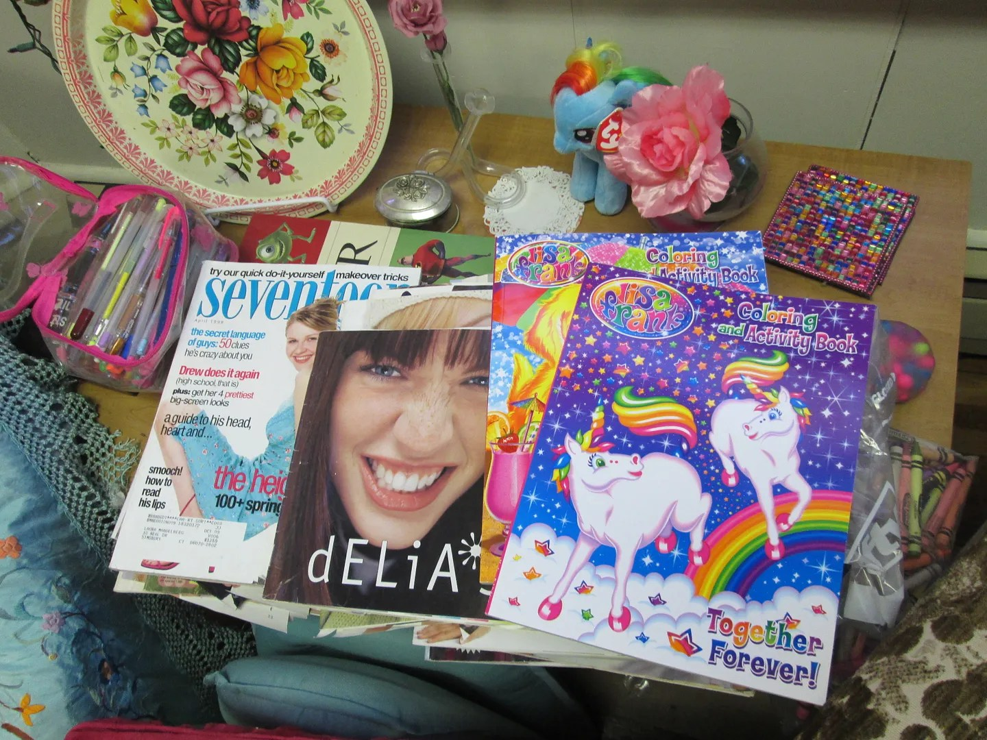 90s seventeen, delias, and lisa frank coloring book