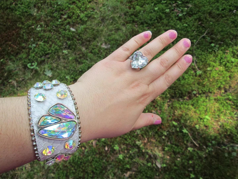 white wristband with rhinestones and big heart rhinestone ring