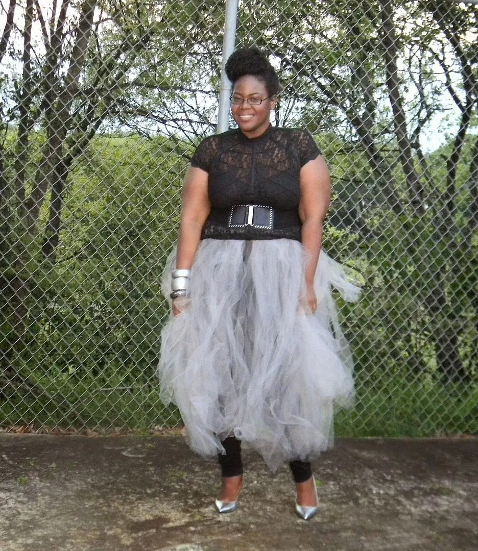 plus size outfit black lace top and gray tutu tulle skirt