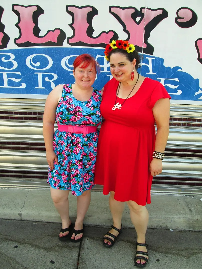 me and friend, wearing cute summery dresses in front of diner