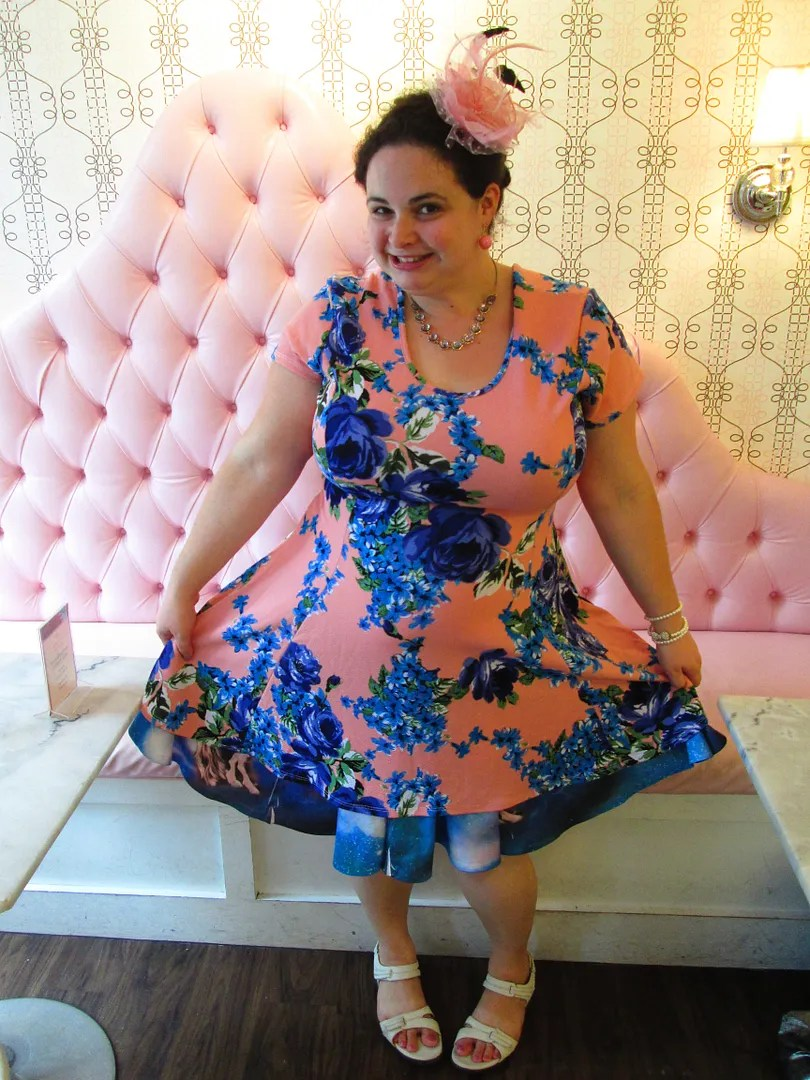 plus size outfit pink pastel dress with blue flowers