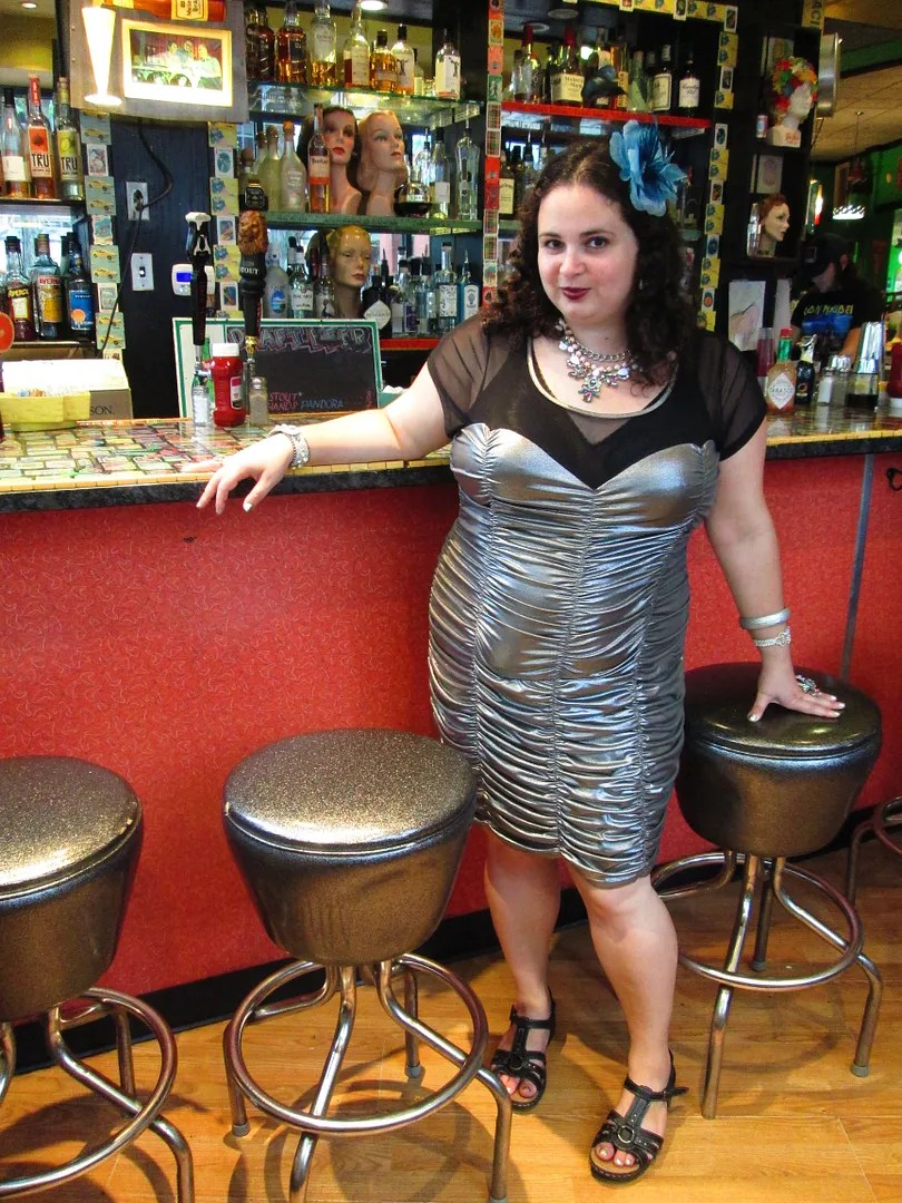 silver plus size retro dress