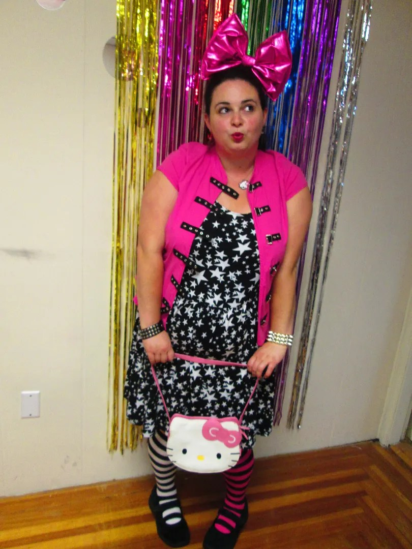 plus size pink and black punk outfit - star dress and buckle top