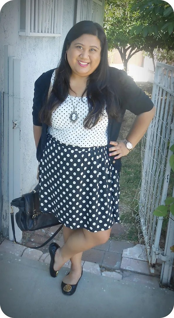 plus size black and white mismatched polka dots outfit with cameo necklace