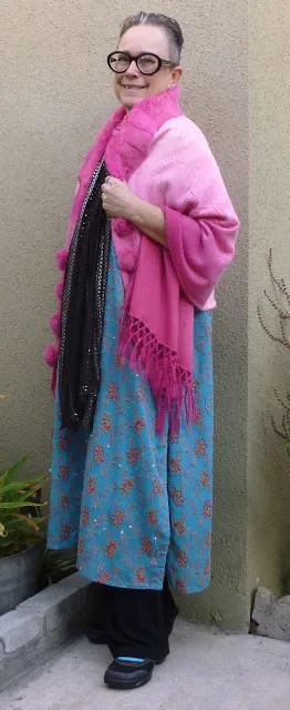 outfit with long blue dress and pink ombre shawl