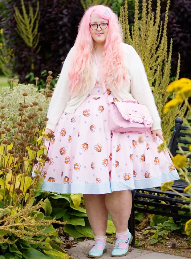 plus size outfit pink hell bunny fox print dress and pink hair cupcake's clothes