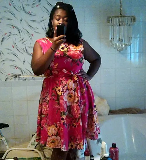 pink floral plus size dress