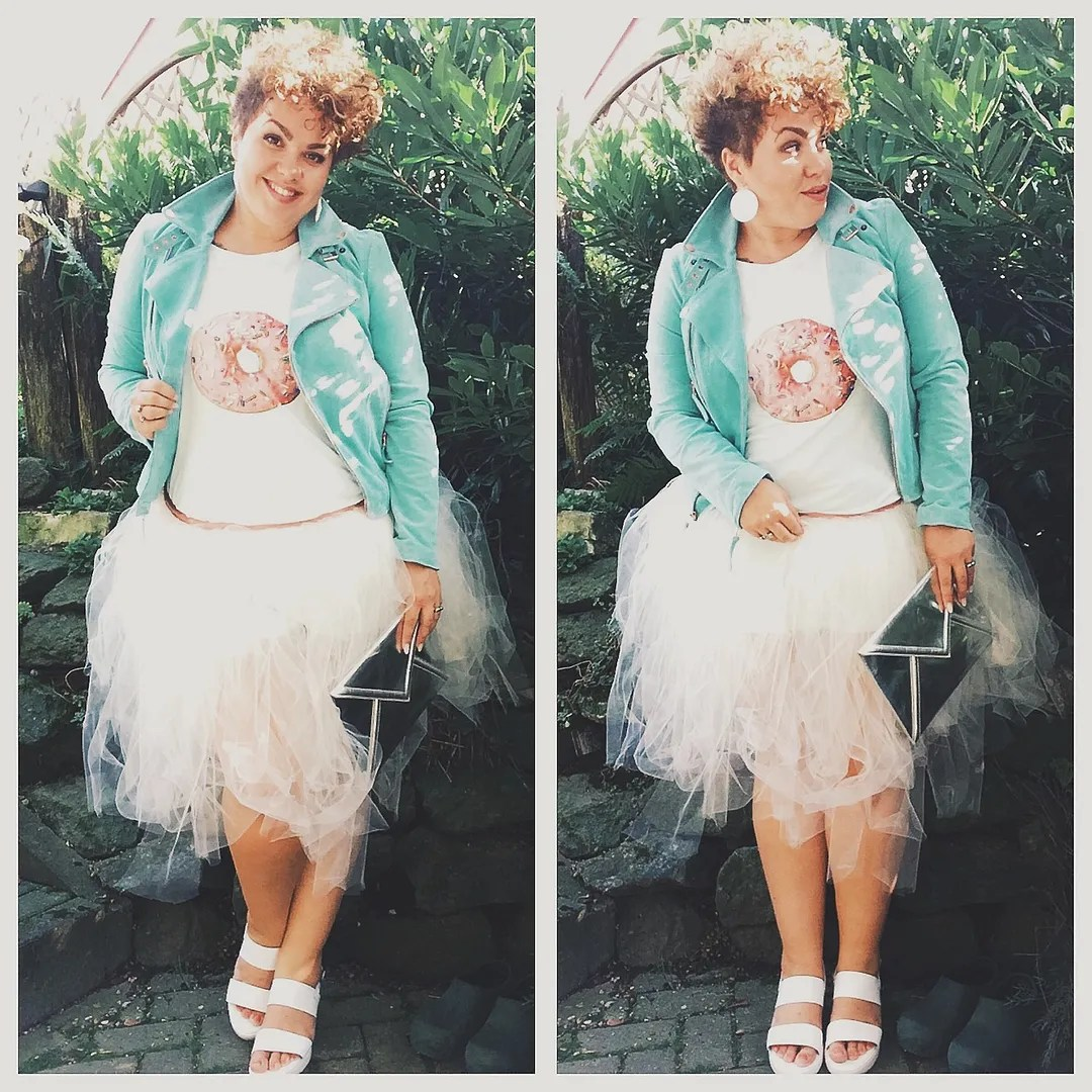 plus size outfit donut t-shirt, white tutu, blue jacket
