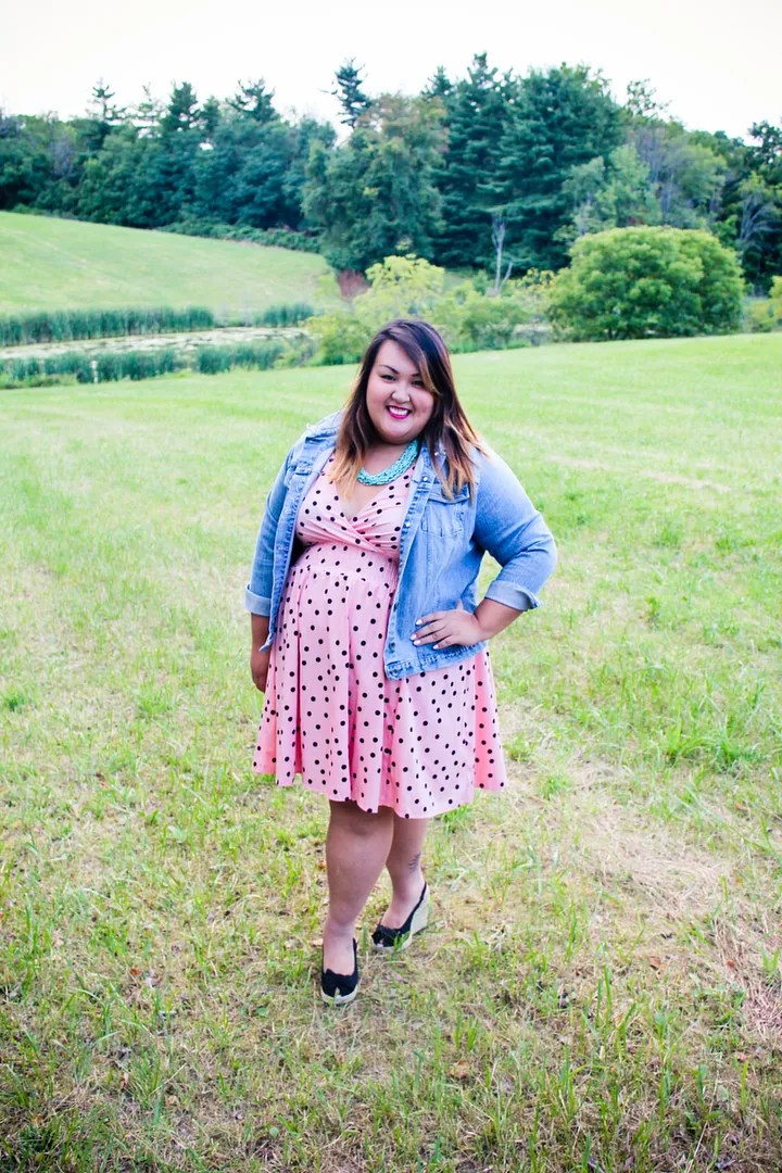 plus size retro outfit with pink polka dot dress and denim jacket