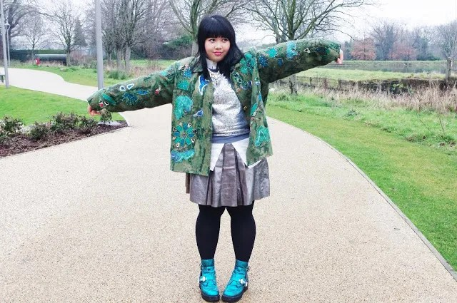 plus size outfit peacock and silver - metallic skirt, sequin sweater, blue and green jacket, aqua metallic boots