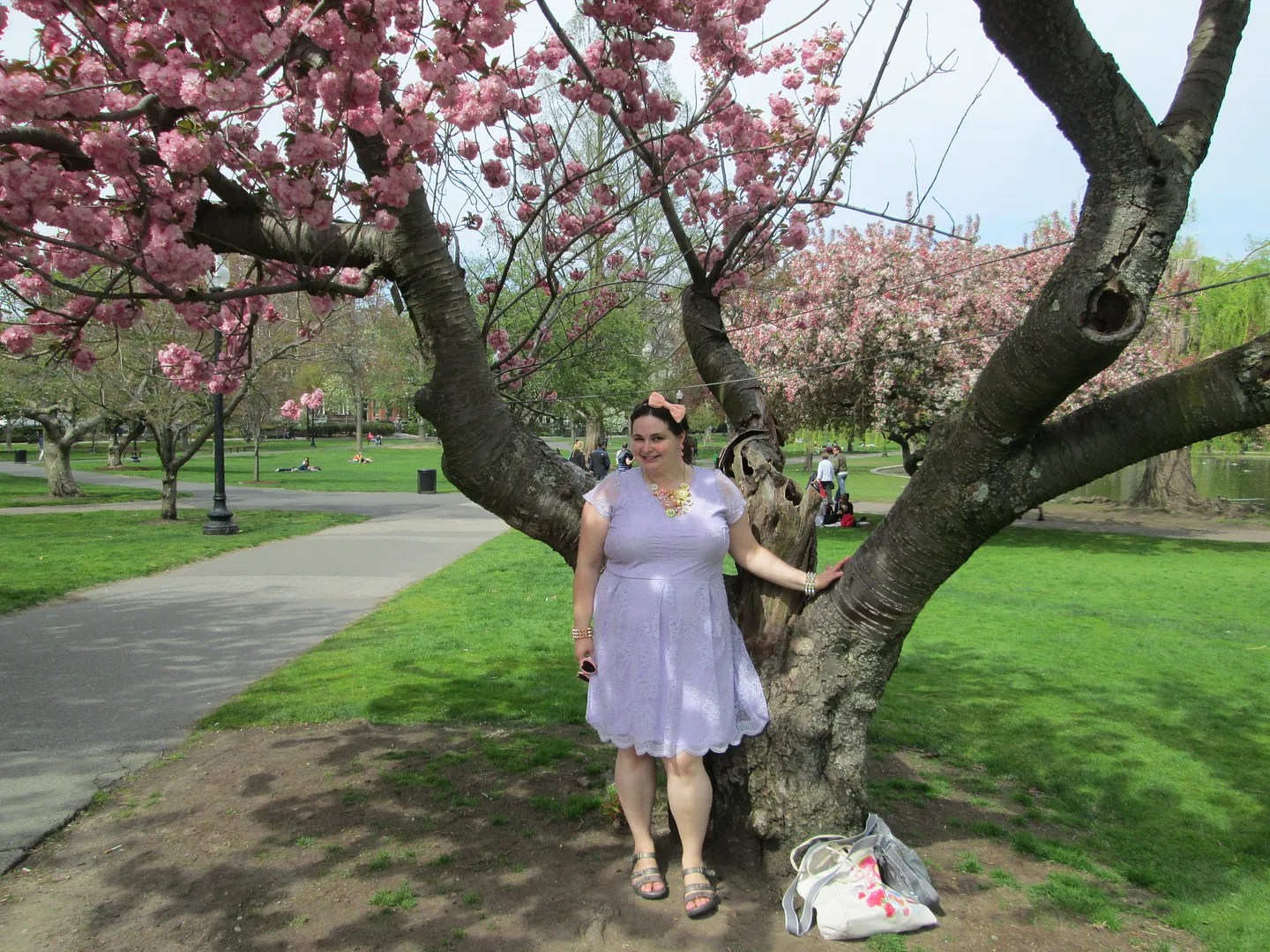 woman in lavender dress standing in front of pink tree