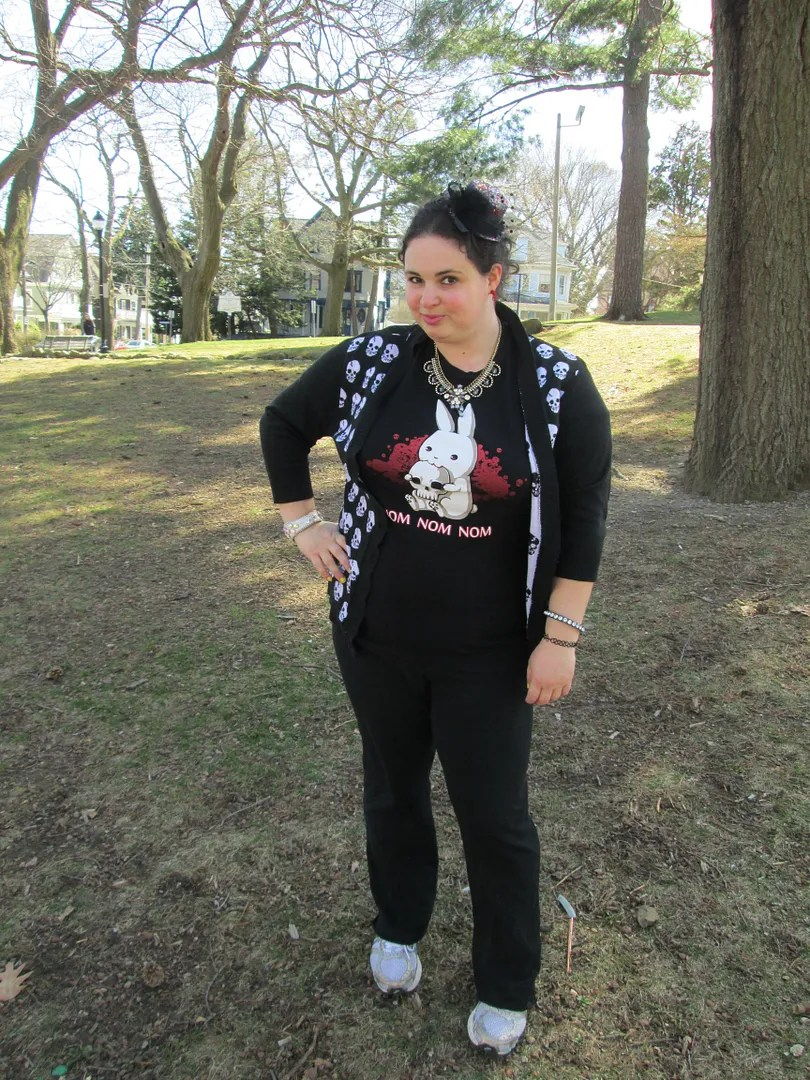 goth easter outfit featuring killer bunny t-shirt