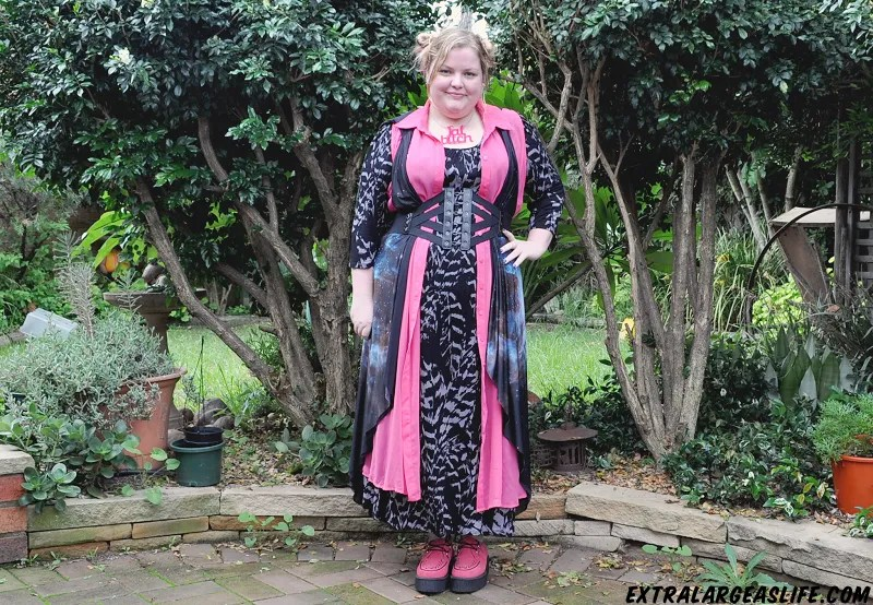 amazing pink, black, and galaxy print plus size outfit with pink creepers and leather goth belt