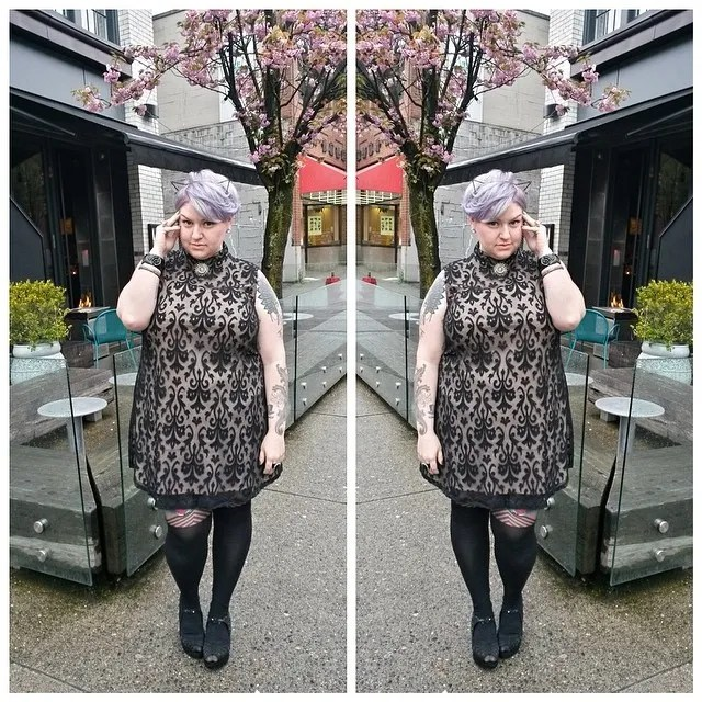 plus size outfit black and white damask dress and lilac hair