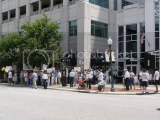 Crowd shot in front of Sen. Jim Webbs office