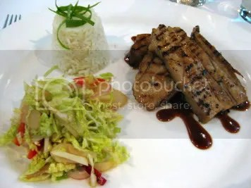 Pork belly, rice & salad