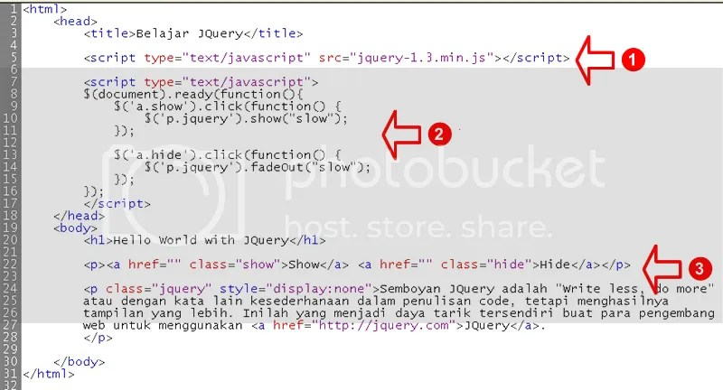 Contoh sederhana penggunaan JQuery