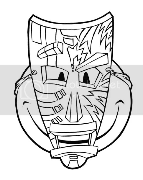 tiki faces colouring pages