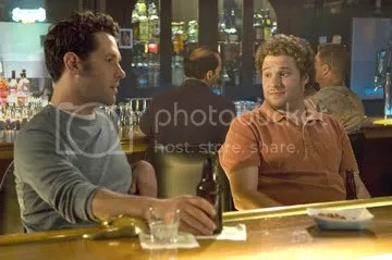 Rudd (left) and Rogen affably bond over beer and jockstraps or whatever